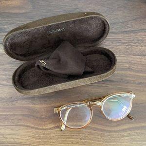 Tom Ford beige round plastic glasses women